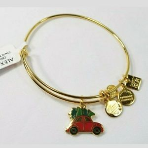 Alex and Ani Gold Tone Christmas Car Bracelet NEW